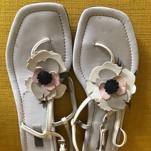 PRADA LEATHER FLOWER SANDALS